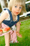 Toddler with watermelon. Stock Photo