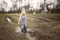 Toddler Wearing Blue Denim Overall Pants Walking on Wet Withered Grass Stock Image