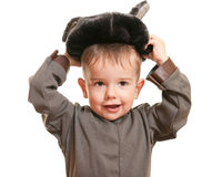 Toddler wearing a carnival suit of wolf Royalty Free Stock Image