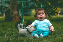 Toddler Wearing Teal T-shirt and Teal Pants Beside Gray Cat Plush Toy Stock Photo
