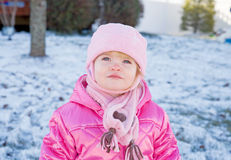 Toddler in the Winter Stock Photography