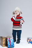 Toddler in winter clothes Royalty Free Stock Photos