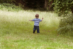 Toddler in woods Royalty Free Stock Image