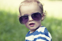 Toddler in woods Royalty Free Stock Photo