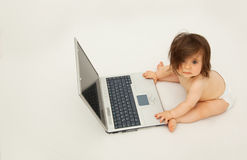 Toddler working on computer Royalty Free Stock Images