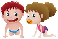 Toddlers boy and girl crawling. Illustration Stock Photos