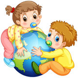Toddlers boy and girl hugging the earth Royalty Free Stock Photography