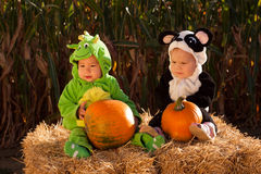 Toddlers in Halloween Costumes Royalty Free Stock Photos