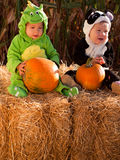 Toddlers in Halloween Costumes Stock Photos