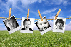 Toddlers Many Expressions Against a Grunge Mottled Royalty Free Stock Photography