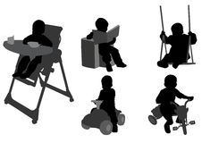 Toddlers silhouettes Royalty Free Stock Image