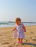 Toddling on beach Stock Images