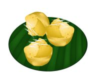 Toddy Palm Cake on Green Banana Leaf Royalty Free Stock Photos