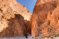 Todgha Gorge in Morocco. Todgha Gorge is canyon in Atlas Mountains, near Tinghir in Morocco royalty free stock image