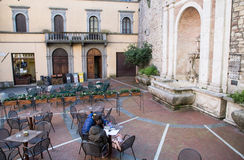 Todi medieval town in Italy. Coffee bar in the medieval town of Todi. Umbria region, central Italy Stock Photo