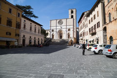 Todi medieval town in Italy. The Duomo and the Piazza del Popolo in the medieval town of Todi. Umbria region, central Italy Stock Photography