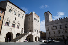 Todi medieval town in Italy. The Priori Palace in the medieval town of Todi. Umbria region, central Italy Royalty Free Stock Photo