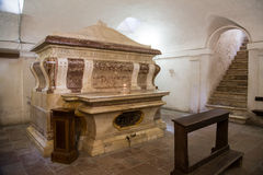 Todi medieval town in Italy. St. Callistus tomb in the church of San Fortunato in the medieval town of Todi. Umbria region, central Italy Royalty Free Stock Image