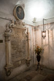 Todi medieval town in Italy. The tomb of the Franciscan friar Jacopone in the church of San Fortunato in the medieval town of Todi. Umbria region, central Italy Stock Photography