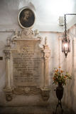Todi medieval town in Italy. The tomb of the Franciscan friar Jacopone in the church of San Fortunato in the medieval town of Todi. Umbria region, central Italy Stock Photos