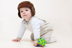 Todler crawling happy Royalty Free Stock Photo