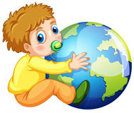 Todler hugging the earth Royalty Free Stock Images