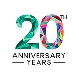 a todo color moderno del vigésimo del aniversario triángulo abstracto de los años stock de ilustración