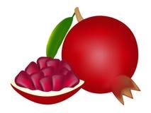 Todo do fruto e da fatia da grandada isolados no fundo branco Fotografia de Stock Royalty Free