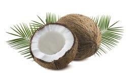 Todo e meio coco com as folhas isoladas no fundo branco fotos de stock