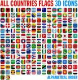 Todo el conjunto completo de las banderas de país Fotos de archivo libres de regalías