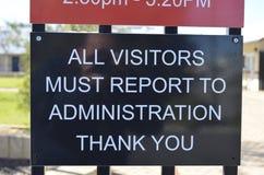 Todo el informe de los visitantes a la administración Fotografía de archivo