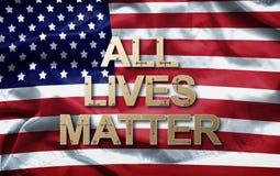 Todo el lema de la materia de las vidas en fondo de la bandera americana campaña anti de la violencia foto de archivo