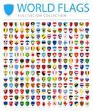 Todo el mundo señala - nueva lista adicional de países y de territorios - iconos planos del escudo por medio de una bandera del v stock de ilustración