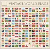 Todo el mundo señala - nueva lista adicional de países y de territorios - iconos planos del vintage por medio de una bandera del  ilustración del vector