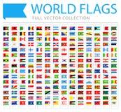 Todo el mundo señala - nueva lista adicional de países y de territorios - iconos planos de la señal por medio de una bandera del  libre illustration