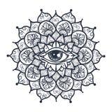 Todo el ojo que ve en mandala Fotos de archivo libres de regalías