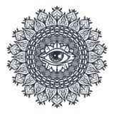 Todo el ojo que ve en mandala Imágenes de archivo libres de regalías
