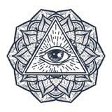 Todo el ojo que ve en triángulo y Mandal Imagen de archivo