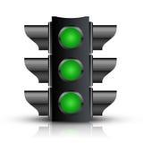 Todo el semáforo verde Fotografía de archivo libre de regalías