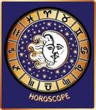 Todo el zodiaco firma adentro el círculo del horóscopo. Sun y luna Imagen de archivo