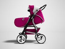 Todo-estação cor-de-rosa moderna 3d do transformador do carrinho de criança de bebê para render na GR ilustração stock