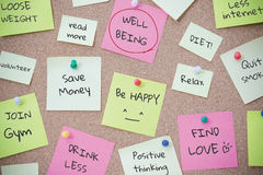 Todo list for wellbeing on post it note Royalty Free Stock Photography