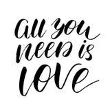 Todo lo que usted necesita es amor - cita romántica inspirada de la tinta a pulso libre illustration