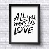 Todo lo que usted necesita es concepto del amor en un capítulo Imágenes de archivo libres de regalías