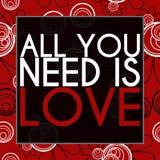 Todo lo que usted necesita es floral negro rojo del amor Fotografía de archivo libre de regalías