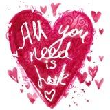 Todo lo que usted necesita es fondo de las letras de amor Tarjeta del día de tarjetas del día de San Valentín stock de ilustración