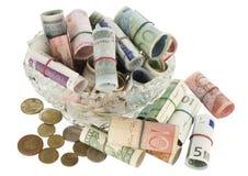 Todo mi dinero en un florero cristalino Foto de archivo libre de regalías