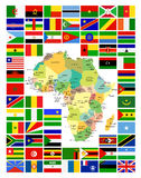 Todo o africano embandeira o conjunto completo e é mapa Imagens de Stock