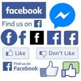Todo o Facebook assina logotipos ilustração stock