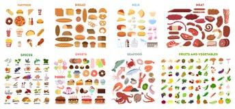Todo o grupo do alimento ilustração royalty free